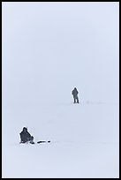 Ice fishermen on Frozen Jackson Lake. Grand Teton National Park ( color)