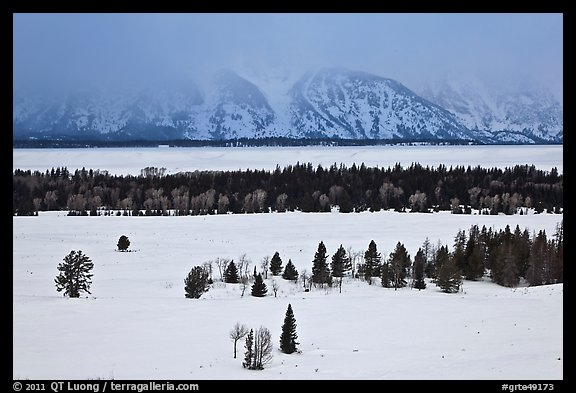 Snake River plain and Teton Range foothills in winter. Grand Teton National Park (color)