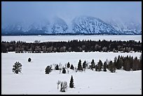 Snake River plain and Teton Range foothills in winter. Grand Teton National Park, Wyoming, USA.