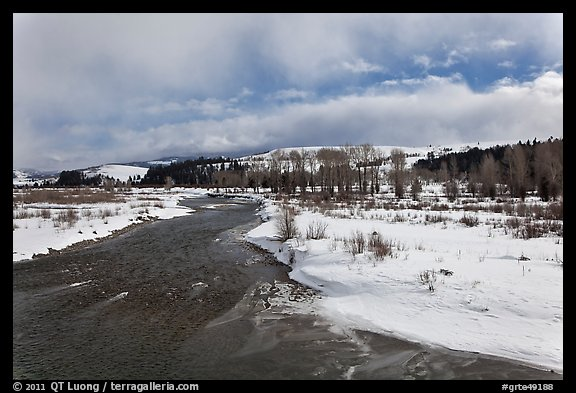 Gros Ventre River in winter. Grand Teton National Park (color)