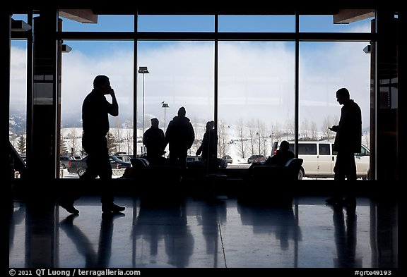 Looking out Jackson Hole Airport lobby. Grand Teton National Park (color)