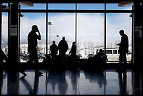 Looking out Jackson Hole Airport lobby. Grand Teton National Park, Wyoming, USA. (color)