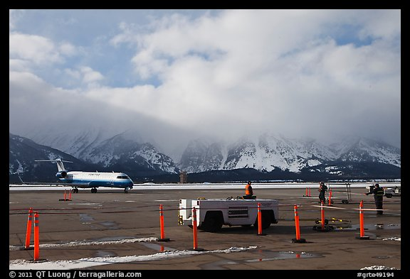Jackson Hole Airport and cloud-capped Teton Range. Grand Teton National Park, Wyoming, USA.
