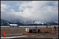Jackson Hole Airport and cloud-capped Teton Range. Grand Teton National Park ( color)