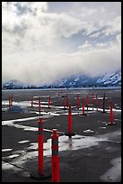 Jackson Hole Airport tarmac, winter. Grand Teton National Park, Wyoming, USA. (color)