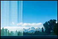 Teton Range, Craig Thomas Discovery and Visitor Center window reflexion. Grand Teton National Park ( color)