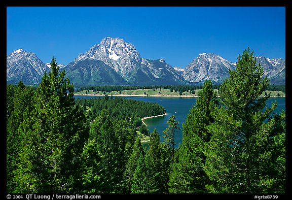 Teton range and Jackson Lake seen from Signal Mountain. Grand Teton National Park (color)