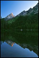 Leigh Lake with Tetons reflected, sunset. Grand Teton National Park, Wyoming, USA.