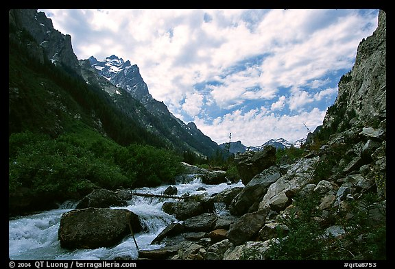 Cascade Creek flows in Cascade Canyon. Grand Teton National Park (color)