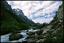 Cascade Creek flows in Cascade Canyon. Grand Teton National Park, Wyoming, USA. (color)