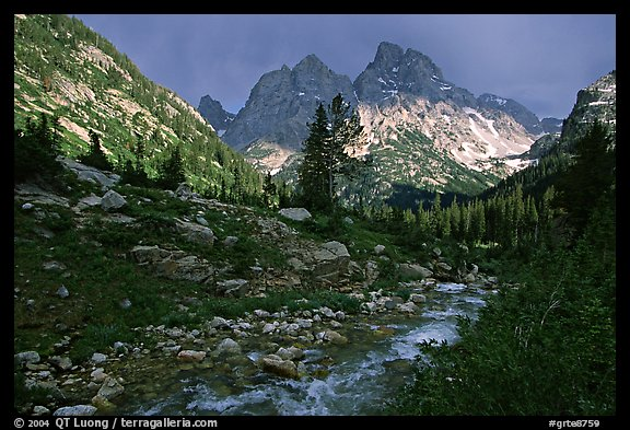Tetons and Cascade Creek, afternoon storm. Grand Teton National Park, Wyoming, USA.