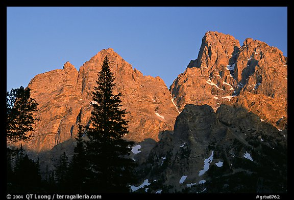 Mt Owen and Tetons at sunset seen from the North. Grand Teton National Park (color)