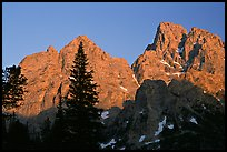 Mt Owen and Tetons at sunset seen from the North. Grand Teton National Park, Wyoming, USA.