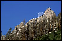 Moon and Grand Teton. Grand Teton National Park, Wyoming, USA. (color)