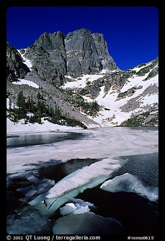 Ice break-up in Emerald Lake and Hallet Peak, early summer. Rocky Mountain National Park, Colorado, USA.