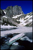 Ice break-up in Emerald Lake and Hallet Peak, early summer. Rocky Mountain National Park ( color)