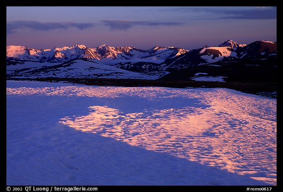 Neve near Rock Cut and Never Summer range in early summer at sunset. Rocky Mountain National Park (color)