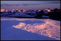Neve near Rock Cut and Never Summer range in early summer at sunset. Rocky Mountain National Park, Colorado, USA. (color)