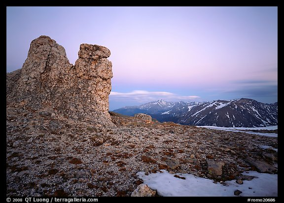 Rock near Toll Memorial at dusk. Rocky Mountain National Park (color)
