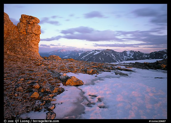 Rock tower and neve at sunset, Rock Cut. Rocky Mountain National Park (color)