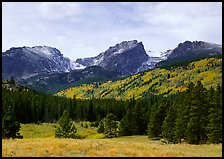 Hallett Peak and Flattop Mountain in autumn. Rocky Mountain National Park, Colorado, USA.