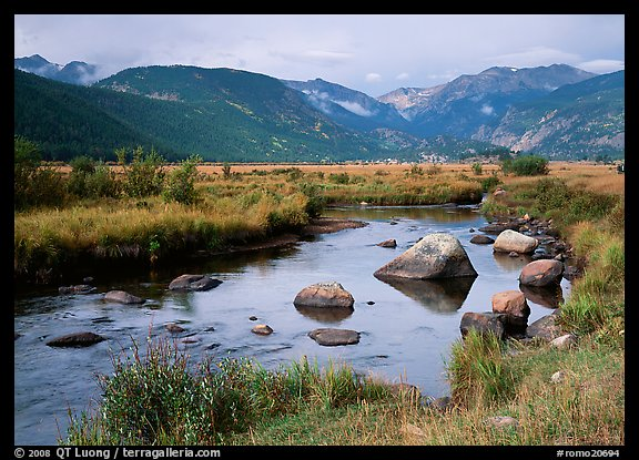 Creek, boulders, and meadow surrounded by mountains, autumn. Rocky Mountain National Park (color)
