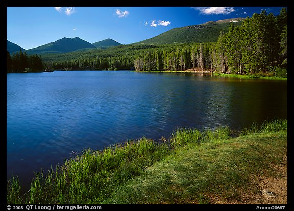 Sprague Lake, and forested peaks, morning. Rocky Mountain National Park (color)