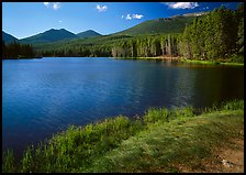 Sprague Lake, and forested peaks, morning. Rocky Mountain National Park, Colorado, USA.