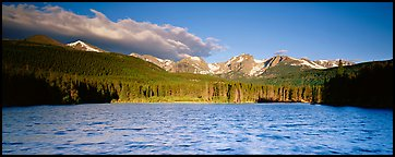 Lake with waves and mountains. Rocky Mountain National Park (Panoramic color)