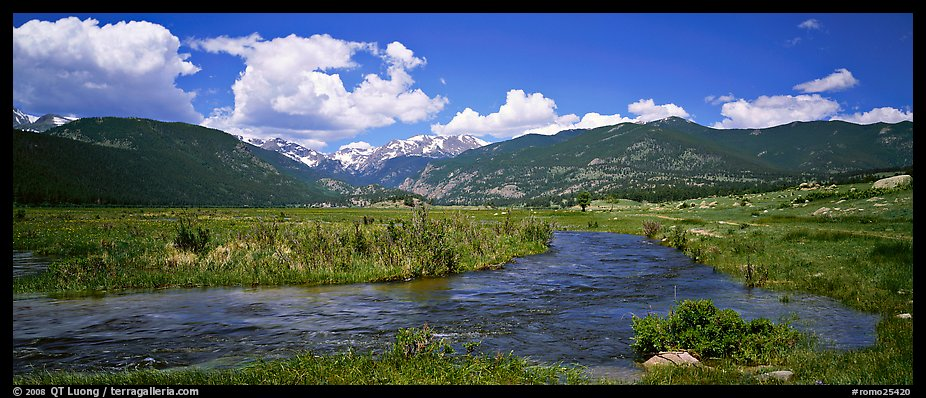 Mountain scenery with green meadows and stream. Rocky Mountain National Park (color)