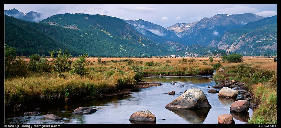 Stream and meadows in autumn. Rocky Mountain National Park (color)