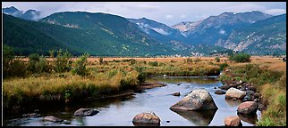 Stream and meadows in autumn. Rocky Mountain National Park (Panoramic color)