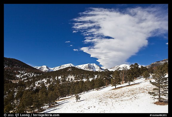 Partly thawed meadow, snowy range, and cloud. Rocky Mountain National Park (color)