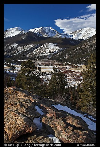 West Horseshoe Park from above, snowy peaks. Rocky Mountain National Park (color)