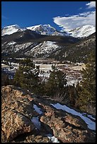 West Horseshoe Park from above, snowy peaks. Rocky Mountain National Park, Colorado, USA. (color)