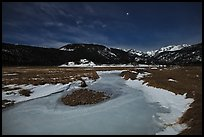 Frozen stream, Moraine Park at night. Rocky Mountain National Park, Colorado, USA. (color)
