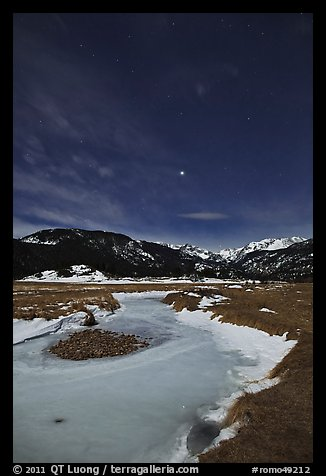 Moraine Park by moonlight. Rocky Mountain National Park (color)