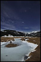 Moraine Park by moonlight. Rocky Mountain National Park, Colorado, USA. (color)