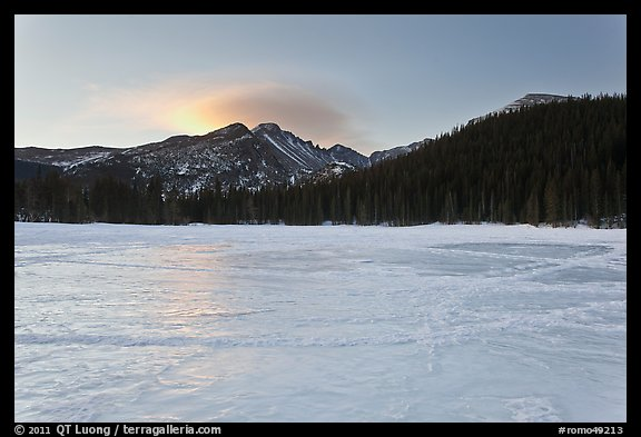Frozen Bear Lake at sunrise. Rocky Mountain National Park (color)