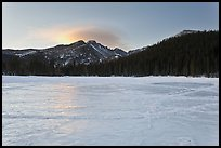 Frozen Bear Lake at sunrise. Rocky Mountain National Park, Colorado, USA. (color)