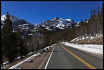 Bear Lake Road in winter. Rocky Mountain National Park, Colorado, USA. (color)