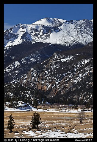 Moraine Park and Stones Peak in winter. Rocky Mountain National Park, Colorado, USA.