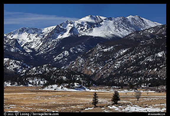 Thawing meadow and snowy peaks, late winter. Rocky Mountain National Park (color)