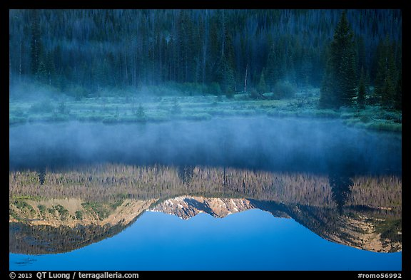 Mist and Never Summer Mountains reflection. Rocky Mountain National Park (color)