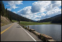Trail Ridge Road and Poudre Lake. Rocky Mountain National Park, Colorado, USA. (color)