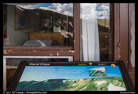 Interpretive sign and Alpine Visitor Center window reflexion. Rocky Mountain National Park (color)