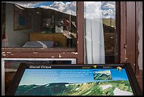 Interpretative sign and Alpine Visitor Center window reflexion. Rocky Mountain National Park, Colorado, USA. (color)