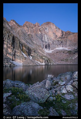 Longs Peak Diamond face and Chasm Lake at dawn. Rocky Mountain National Park (color)