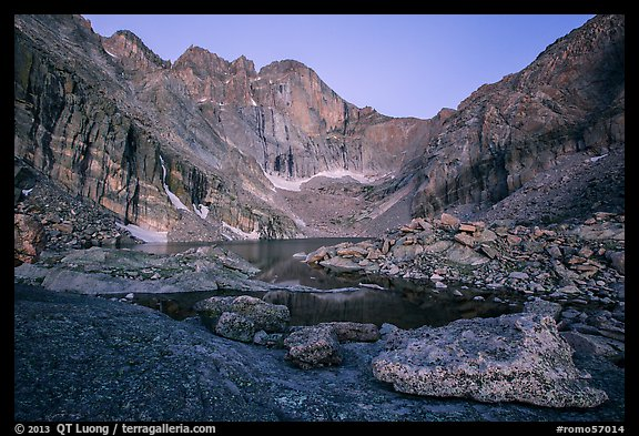 Longs Peak above Chasm Lake at twilight. Rocky Mountain National Park (color)