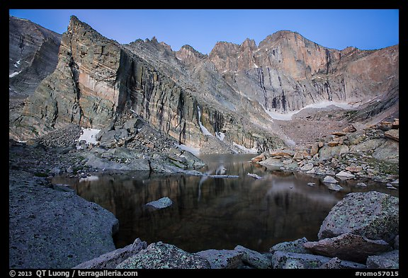 Longs Peak above Chasm Lake at dawn. Rocky Mountain National Park (color)